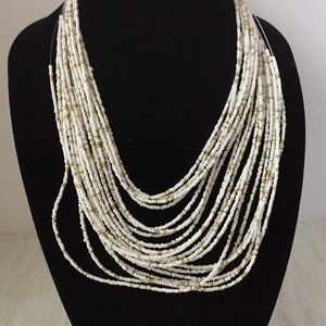 Jewelry - White and Gold Seed Bead Multi-Strand Necklace
